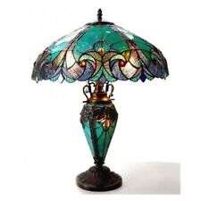 Table Lamps For Living Room Bedroom Tiffany Style Victorian Turquoise Amber Lite