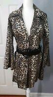 NINE WEST Women Leopard Skin Trench Coat With Fancy Unique Big belt  Size L