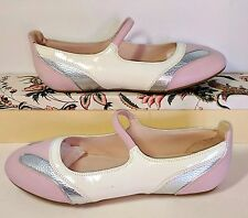 BALLY Alida Mary Jane Ballet Pink White Silver Patent Leather US 10 Minimal Wear