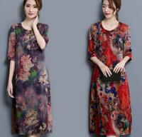 Womens Floral Silk 3/4 Sleeve Mid-calff Dress Scoop Neck Loose Fit Sundress SYJ