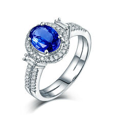 Solid 18K White Gold Natural Tanzanite & Diamond Wedding Engagement Ring