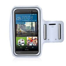 HTC One M9 White Sports Fitness Running Armband Tie Adjustable