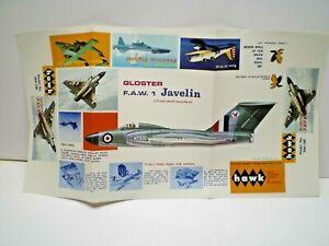 HAWK 1967 Gloster Javelin dealer sales sheet box top art L@@K!