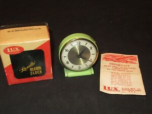 VINTAGE 1950'S LUX LUXETTE GREEN ALARM CLOCK IN ORIGINAL BOX PAPERWORK