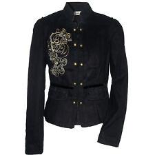 originelle Jacke Baroque Militäry Vintage Style Blazer Gr.34/36 Schwarz Velvet