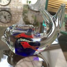 MURANO GLASS FISH WITH TWO INTERNAL GOLDFISH ON A CORAL REEF PAPERWEIGHT