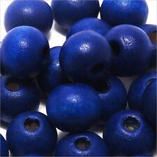 Lot de 50 perles rondes en Bois 10mm Bleu Outremer