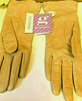 Grandoe Women's Tan - Yellow Leather Cashmere Lined Gloves Size 7  Soft and Warm