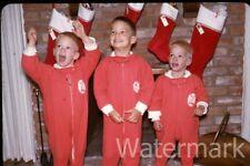 1966 35mm photo slide  Three boys  Christmas