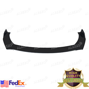 Glossy Black Car Front Bumper Lip Chin Side Winglet Splitter Body Universal Kit