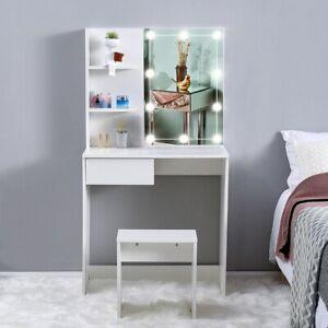 Dressing Table Stool Set Makeup Desk w/ Hollywood Mirror 10 LED Bulbs Lights