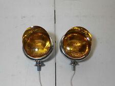 vintage style chrome 5 inch 6 volt fog lights with visors driving light spot gm