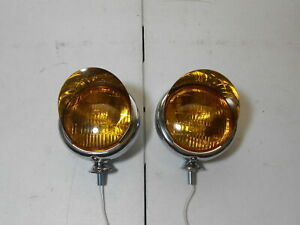 vintage style chrome 5 inch 6 volt fog lights with visors driving light spot gm