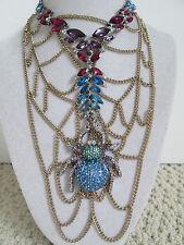 NWT Auth Betsey Johnson Spider Lux Blue Widow Chain Web Bib Statement Necklace