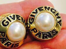 Vintage Givenchy Paris Haute Couture Earrings Pearl Center w Black Enamel Beauti