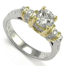 18K Two Tone Gold Solitaire Diamond Engagement Ring #R773