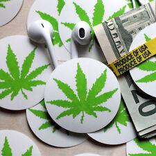 Marijuana 420 pot leaf sticker pack (4 stickers) clear vinyl herbal decal medium