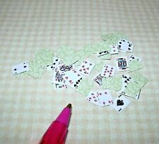 Miniature 52 Pick-Up!  Full Deck of Playing Cards GREEN for DOLLHOUSE 1/12 Scale