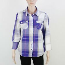 Bench Womens Size M Purple Check Short Sleeve Shirt