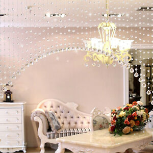 Hot Pretty Glass Crystal Clear Beaded Hanging Curtain Window Door Kitchen Decor