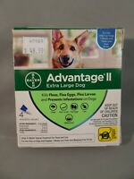 GENUINE BAYER ADVANTAGE II FLEA CONTROL FOR XL DOGS OVER 55 LBS - NEW 4 PACK