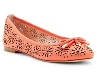 Kate Spade Walsy Women's Cutout Leather Slip On Ballet Flats Shoes Coral Size 10