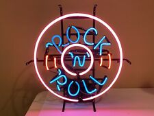 "Rock And Roll Neon Light Lamp Sign 17"" Bar Pub Glass Artwork Jukebox Mancave"