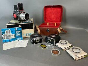 Zenith 80 Camera Industar-29 2.8/80mm Lens 2x Magazines Hoya Filters Case KL/JP