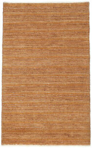 3X5 Hand-Knotted Gabbeh Carpet Traditional Gold Fine Wool Area Rug D36327