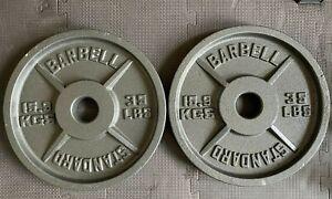 "BARBELL STANDARD 2"" 15.9KGS / 35LB WEIGHT PLATES X 2 PAIR (31.8KG TOTAL)"