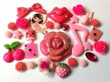 30 Pcs 10mm-45mm Pink Mix Resin & Clay Embellishments Cabochons Decoden Crafts