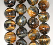 16MM GOLDEN BLUE TIGER EYE GEMSTONE HAWK EYE GRADE AB ROUND LOOSE BEADS 7.5""