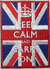 KEEP CALM & CARRY ON Union Jack UK GB Flag Sew On Iron On Shirt Jacket Patch