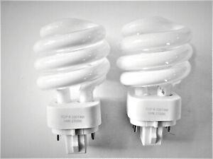 2x TCP 14W 2700K Mini Spiral 4-Pin Plug In Lamp G24q-1 CFL Light Bulb 33014M
