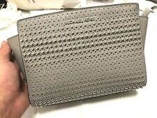 MICHAEL KORS Selma Stud Medium Messenger Saffiano Leather Crossbody Pearl Grey