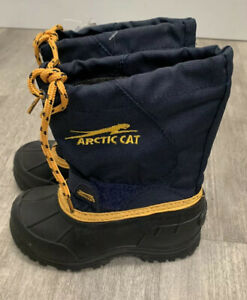Arctic Cat  Temperature Rated Winter Snow Boot Blk/Navy/Yellow Youth Sz 10