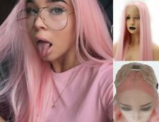 """US 24"""" Silky Straight Pink GlueLess Lace Front Wig Heat Resistant Hair Full Head"""