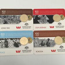 2016 AUST ANZAC VIC CROSS 1st GOLD 25c SET LONG TAN,PEACE,KOKODA,OUR LEGENDS