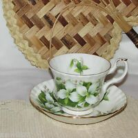 VINTAGE ROYAL ALBERT TRILLIUM FOOTED CUP & SAUCER BONE CHINA WHITE FLOWERS