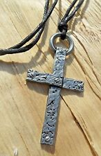 Rivet Cross Crucifix Silver Effect Necklace Adjustable Long Knotted Cotton Cord
