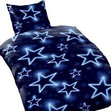 Bettwäsche STERNE STARS Himmel dunkelblau weiß Mikrofaser 135x200cm