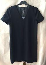 Trenery Black Boxy Drape V Neck Mini Dress Womens 4