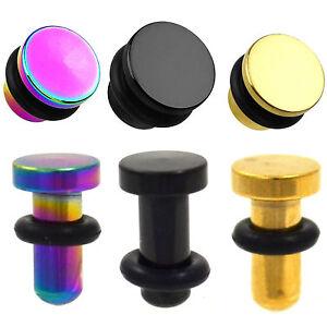 PAIR - UNIQUE METAL FLAT TOP EAR PLUGS GAUGES (8 sz) Rainbow, Black, Gold-Tone