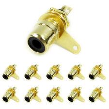 10 Stk. Cinch Einbaukupplung vergoldet Schwarz / Buchse zum Löten Audiokupplung
