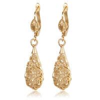 Gold Plated Hook Drop  Dangle Earrings Ear Studs Long Hollow Ear Studs Jewelry W