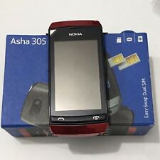 Nokia Asha 305 Red Color Unlocked Cellular Phone Dual Sim Lifetime 0 VINTAGE