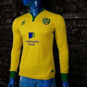 Norwich City Jersey Long Sleeve Home football shirt 2016  2017 Errea Mens Size S
