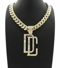 DREAMCHASERS DC PENDANT 18K GOLD CUBAN LINK LAB DIAMOND CHAIN NECKLACE MEEK MILL