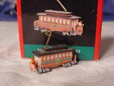 1990 HALLMARK MINIATURE CHRISTMAS ORNAMENT Santa's Streetcar CABLE CAR MIB