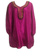Art To  Wear Silk Bohemian Tunic Dress Long Top Vibrant Fuchsia Beaded UK 16